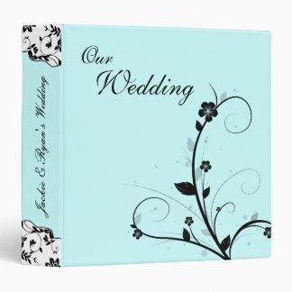 Wedding Photo Album Black & White Floral Blue 3 Ring Binder