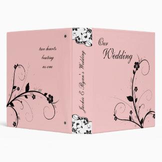 Wedding Photo Album Black & White Floral Pink Binder
