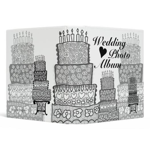 wedding photo album cake black and white binder