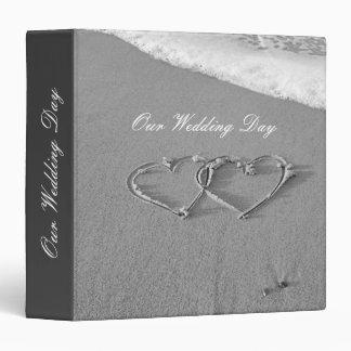 Wedding photo album double hearts in beach sand 3 ring binder