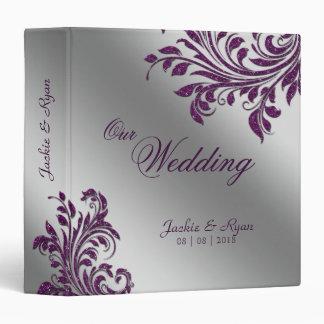 Wedding Photo Album Leaf Sparkle Purple Silver Binder
