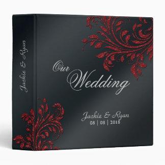 Wedding Photo Album Leaf Sparkle Red Black Binder