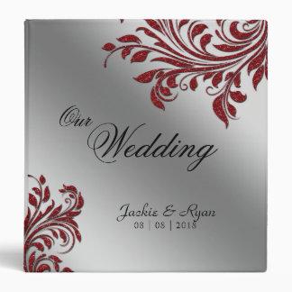 Wedding Photo Album Leaf Sparkle Red Silver Binder