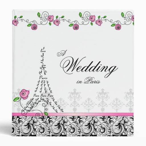 Wedding Photo Album Paris Eiffel Tower Pink Roses Binders