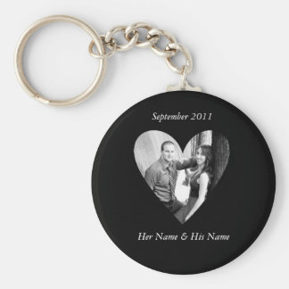 Wedding Photo Black Heart Keychain