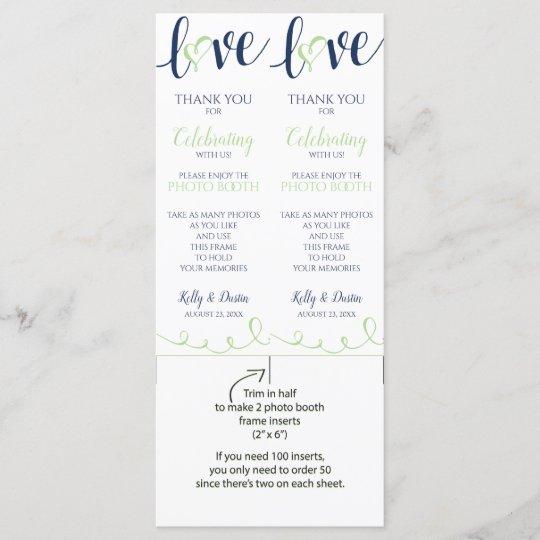 Wedding Photo Booth Frame Inserts | Navy & Green | Zazzle.com
