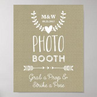 Wedding Photo Booth Sign Burlap Hearts Arrows