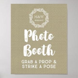Wedding Photo Booth Sign Burlap Wreath