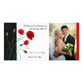 Wedding Photo Card   Red Poppies