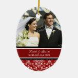 Wedding Photo Christmas Ornament Red Damask