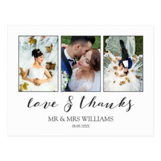 Wedding Photo Collage | Calligraphy Love & Thanks Postcard
