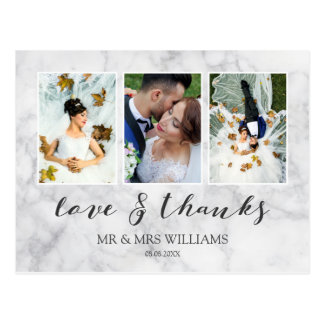 Wedding Photo Collage | Gray Marble Love & Thanks Postcard