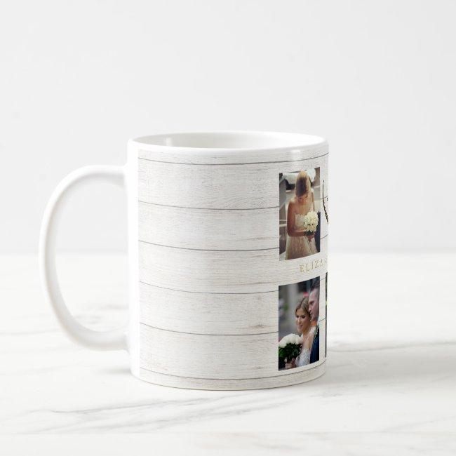 Wedding Photo Collage Rustic Simple Heart Quote Coffee Mug