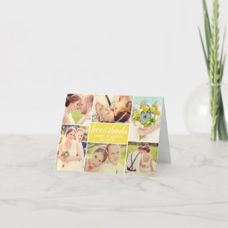 Wedding Photo Collage | Yellow Thank You Card