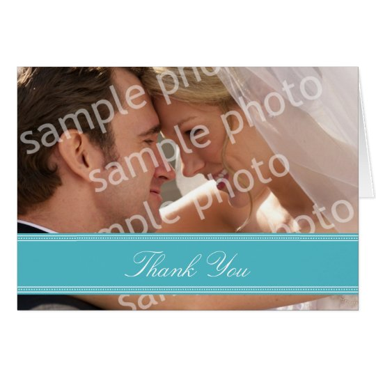 Wedding Photo Custom Thank You Card (aqua)