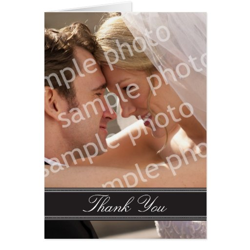 Wedding Photo Custom Thank You Card (black)