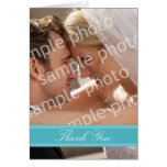 Wedding Photo Custom Thank You Card (turquoise)