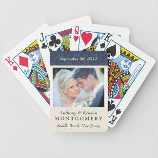 Wedding Photo Damask Personalized Playing Cards