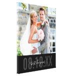 WEDDING PHOTO DATE cute type monochrome black Canvas Print