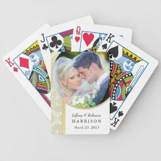 Wedding Photo Ecru Damask Playing Cards