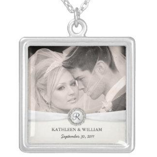 Wedding Photo Elegant Monogram Pendant Necklace