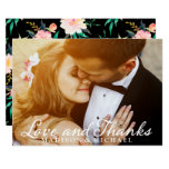Wedding Photo Fancy Script Floral Thank You Card