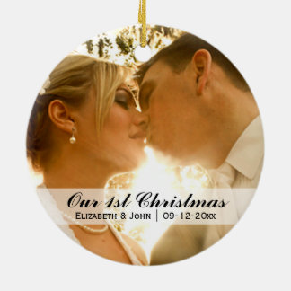 Wedding Photo First Christmas Double-Sided Ceramic Round Christmas Ornament