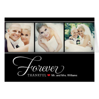 Wedding Photo Forever Thankful | Black Note Card
