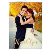 Wedding Photo   Gold Script Thank You