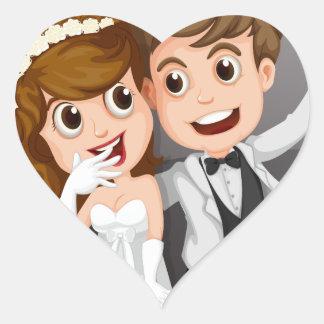 Wedding photo heart sticker