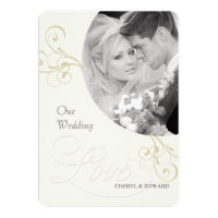 Wedding Photo Invitations - Elegant Vintage Ivory