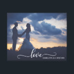 "Wedding PHOTO Keepsake LOVE   Names Canvas Print<br><div class=""desc"">Simply LOVE.  Elegant white script topography letters LOVE with couple&#39;s (bride &amp; groom) names.  Easy to add YOUR PHOTO,  picture by clicking &#39;Change&#39; .  Perfect canvas gift and keepsake,  memorabilia for the newlyweds.</div>"