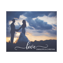 Wedding PHOTO Keepsake LOVE + Names Canvas Print