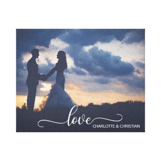 Wedding PHOTO Keepsake LOVE   Names Canvas Print