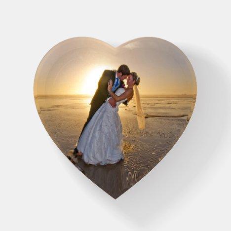 Wedding Photo Love Heart Glass Paperweight