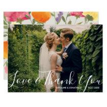 Wedding Photo Love & ThankYou Watercolor Flowers Card