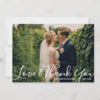 Wedding Photo Love & ThankYou Watercolor Flowers Thank You Card