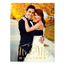 Wedding Photo Note Cards   Gold Mr. & Mrs. Script