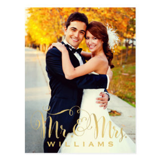 Wedding Photo Note Cards | Gold Mr. & Mrs. Script