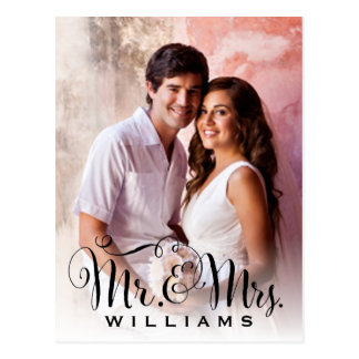 Wedding Photo Note Cards | Mr. and Mrs. Monogram