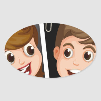 Wedding photo oval sticker
