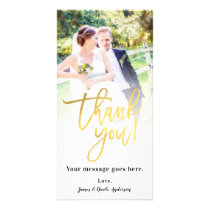 Wedding Photo Picture Thank You Faux Gold Foil Card