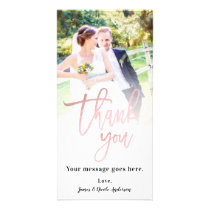 Wedding Photo Picture Thank You Rose Gold Pink Card