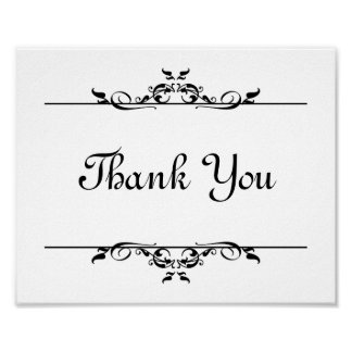 Wedding photo prop sign Thank You elegant scroll