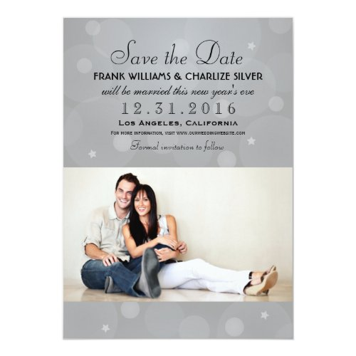 Wedding Photo Save the Date | Platinum Gray Card