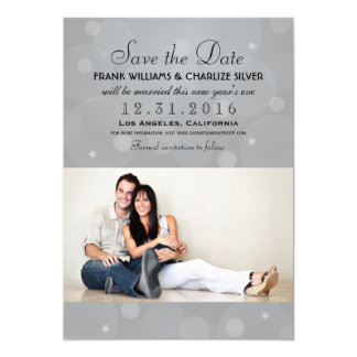 Wedding Photo Save the Date | Platinum Gray 5x7 Paper Invitation Card