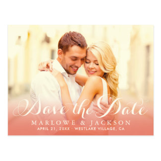 Wedding Photo Save the Date | Rose Gold Postcard