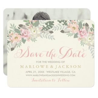 Wedding Photo Save the Date   Spring Vintage Boho Card