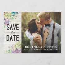 Wedding Photo Save The Date Succulents Rustic Wood