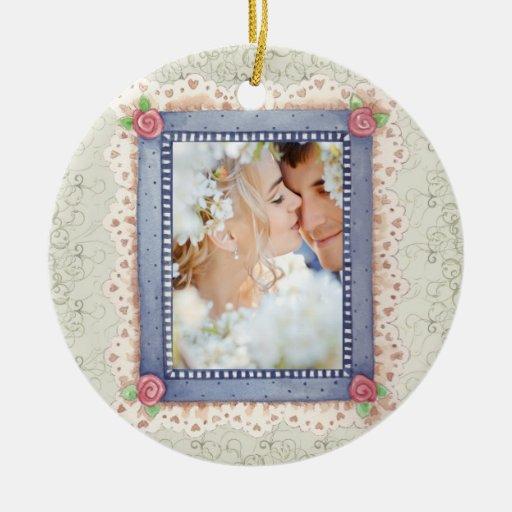 Wedding Photo - SRF Double-Sided Ceramic Round Christmas Ornament
